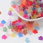 Transparent Acrylic Beads, Flower, Frosted, Mixed Color, 10x5mm, Hole: 1mm; about 4200pcs/500g