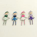Modern Girl Zinc Alloy Enamel Big Pendants, Nickel Free, Platinum, Mixed Color, 61x25x2mm, Hole: 2mm