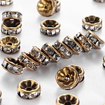 Brass Rhinestone Spacer Beads, Grade AAA, Straight Flange, Nickel Free, Antique Bronze Metal Color, Rondelle, Crystal, 8x3.8mm, Hole: 1.5mm
