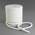 Hollow Round Nylon Thread, with PPC Tube Inside, White, 5mm, Hole: 2mm; 11m/roll