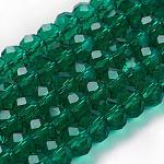 Abalorios de cristal hechos a mano, rondelle facetas, seagreen, 8x6mm, agujero: 1 mm; aproximamente 68~70 unidades / cadena