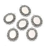 Aleación de estilo tibetano colgante cabujón ajustes, oval, plata antigua, Bandeja: 18x13 mm; 32x23x3 mm, agujero: 2.5 mm