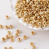 Electroplate Glass Seed Beads, Round Hole Rocailles, Golden Plated, 3.5~5.5x2.5~6.8mm, Hole: 1mm