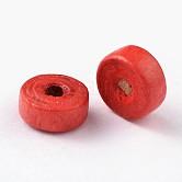 Cuentas de madera naturales, sin plomo, plano y redondo, teñido, rojo, 6x3mm, Agujero: 2 mm; aproximamente 18000 unidades / 1000 g