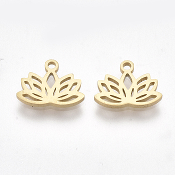 304 Stainless Steel Charms, for DIY Jewelry Making, Lotus Flower, Golden, 7.5x10x1mm, Hole: 1mm