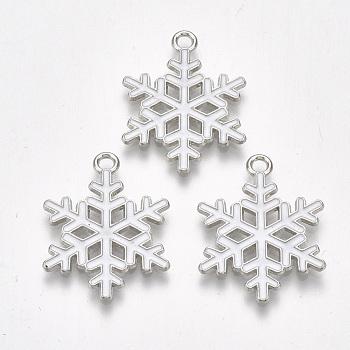 Alloy Pendants, Cadmium Free & Lead Free, with Enamel, Christmas, Snowflake, Platinum, White, 25x19x1.5mm, Hole: 2mm