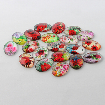 Multi-Color Flower Theme Ornaments Glass Oval Flatback Cabochons, Mixed Color, 25x18x6mm