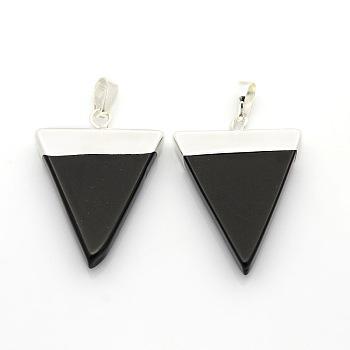 Драгоценный камень треугольник подвески, с посеребренными латунными выводами, черный агат, 34x22~28x4 мм, отверстие : 8x5 мм