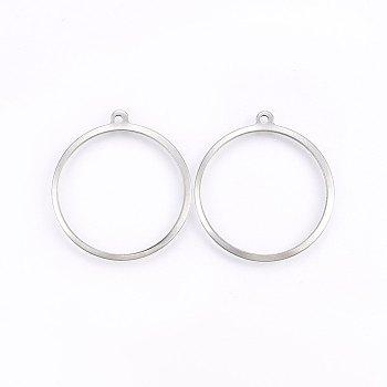 Pendentifs en 304 acier inoxydable, anneau, couleur inoxydable, 27.5x25x1mm, Trou: 1.2mm