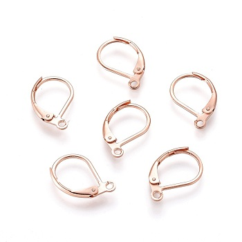 304 Stainless Steel Leverback Earring Findings, with Loop, Rose Gold, 15.5x10x1.5mm, Hole: 1.5mm
