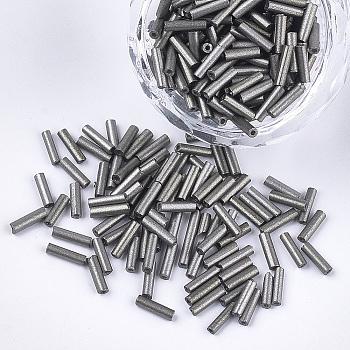 Cuentas de corneta de vidrio electrochapado, agujero redondo, colores metálicos, gris, 6~7x1.5~2mm, agujero: 0.8 mm, aproximamente 10000 unidades / bolsa