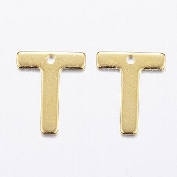 Encantos de 304 acero inoxidable, letter.t, dorado, 11x9x0.8mm, agujero: 1 mm