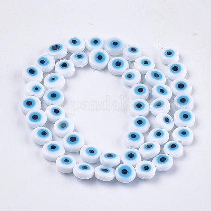 Hechos a mano de mal de ojo lampwork perlas hebrasX-LAMP-S191-02B-08-1