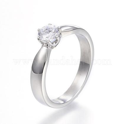 316 Stainless Steel Cubic Zirconia Finger RingsRJEW-P119-01-5#-1