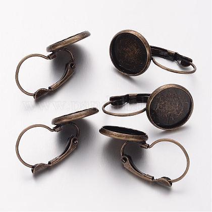 Accessoires de dormeuse en laiton bronze antique digne des cabochons en forme de dômeX-KK-C1244-NFAB-1