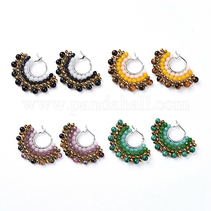 Natural Gemstone Hoop Earrings EJEW-JE03930-M-1