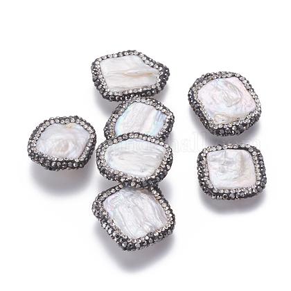 Perlas naturales abalorios de agua dulce cultivadasPEAR-F015-04B-1