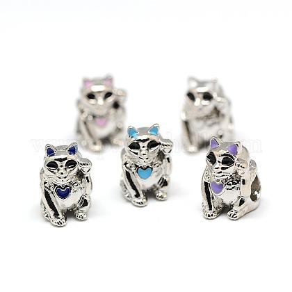 Platinum Plated Alloy Enamel Kitten European BeadsMPDL-A023-E-1