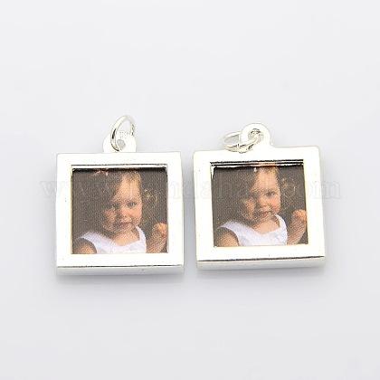 Square Photo Frames Alloy Locket PendantsPALLOY-J413-12S-1