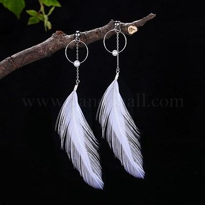 Sterling Silver Dangle Stud EarringsEJEW-BB34098-1