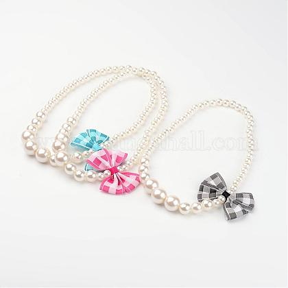 Imitation Pearl Acrylic Graduated Beaded Kids Necklaces NJEW-JN01583-1