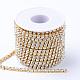 Cadenas de strass Diamante de imitación de bronce, cadenas de la taza del Rhinestone, con carrete, crudo (sin chapar), cristal, 2.3~2.4mm, aproximamente 10 yardas / rodillo