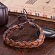 Pulseras de cuero trenzadas ajustables unisex ocasionalesBJEW-BB15584-6