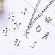 304ステンレススチール製チャーム  アルファベット  レーザー切断  ステンレス鋼色  手紙〜Zを  10~14.5x4~14x1mm  穴:1ミリメートル; 26個/セット。STAS-R105-2