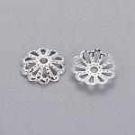 Chapeaux de perles de fer fleur en filigrane plaqué argent, 9mm, trou: 1.5 mm; environ 134 pcs / 10 g