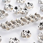 Brass Rhinestone Spacer Beads, Grade A, Wavy Edge, Silver Color Plated, Rondelle, Crystal, 6x3mm, Hole: 1mm