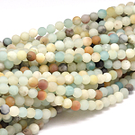 Natural Amazonite Beads Strands, Frosted, Round, 6mm, Hole: 1mm; about 63pcs/strand, 15.5''(39.5cm)