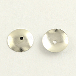 Iron Bead Caps, Disc, Nickel Free, Platinum, 10x1.5mm, Hole: 1mm
