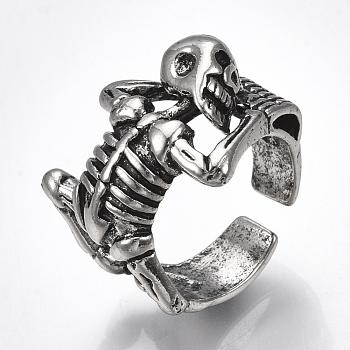 Сплав манжеты кольца пальцев, широкая полоса кольца, человеческий скелет, античное серебро, Размер 9, 19 мм