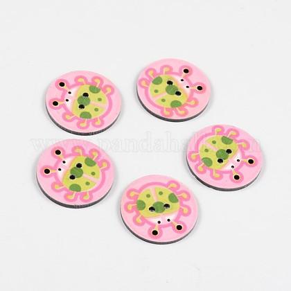 2-Hole Flat Round with Ladybird Pattern Acrylic ButtonsBUTT-F055-06B-1