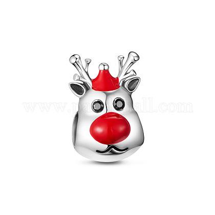 TINYSAND® émail argent sterling breloque de renne mignon perles européennesTS-C-194-1