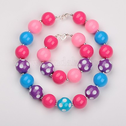 Chunky Round Bubblegum Acrylic Beads Jewelry Sets: Bracelets & NecklacesSJEW-JS00778-01-1