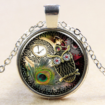 Owl Pattern Flat Round Glass Pendant Necklaces NJEW-N0051-030E-02-1