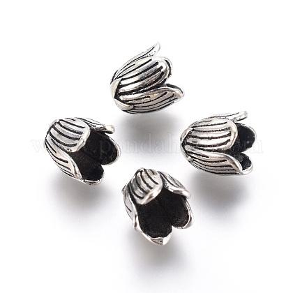 5-Petal Thai Sterling Silver Bead CapsSTER-G029-70AS-1