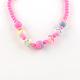 Flower Acrylic Pendant Necklaces and Stretch Bracelets Jewelry SetsSJEW-R048-04-7