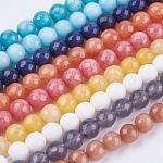 Chapelets de perles de jade naturel, teinte, facette, ronde, couleur mixte, 8 mm; trou: 1 mm; 48 pcs / brin, 14.9