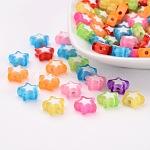Abalorios de acrílico transparentes, talón en grano, estrella, color mezclado, 9x10x4mm, Agujero: 2 mm; aproximamente 104 unidades / 20 g