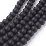 Synthetic Black Stone Beads Strands, Frosted, Round, Black, 8mm, Hole: 1mm; about 48pcs/strand, 16inches