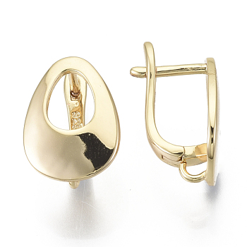 Brass Hoop Earring Findings, with Loop, Nickel Free, Teardrop, Real 18K Gold Plated, 16.5x12mm, Hole: 2mm, Pin: 1.5x1mm