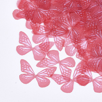 Organza Fabric, For DIY Jewelry Making Crafts, Butterfly, Red, 34x47.5mm