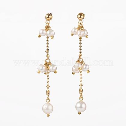 Orecchini a grappolo di perle naturaliEJEW-JE04483-1