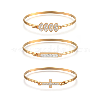 304 Stainless Steel Bangles BJEW-F363-08G-1