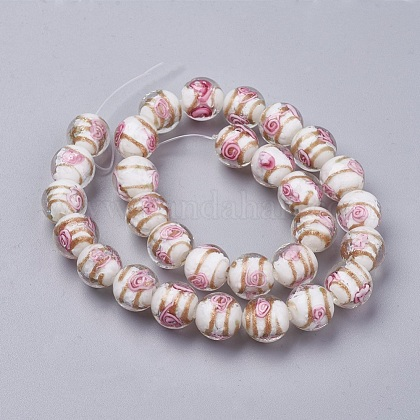 Handmade Gold Sand Lampwork  Beads Strands LAMP-F014-A06-1