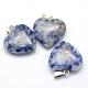 Colgantes de jaspe de punto azul natural de corazónG-Q438-10-2