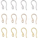 PandaHall Elite about 45 pcs 3 Colors 304 Stainless Steel Earring Hooks Ear Wire with Loop for DIY Earring Jewelry Craft Making