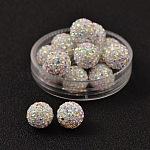 Diamante de imitacións de cristal checo abalorios, arcilla de polímero en el interior, cuentas redondas perforadas a medias, 101 _crystal + ab, pp11 (1.7~1.8 mm); 10mm, agujero: 1 mm